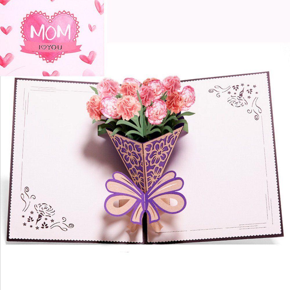 Mothers Day Card From Daughter Carnation Flower Bouquet Pop Up I Love Mom 3D Greeting Nice Birthday Blank With Evenlope