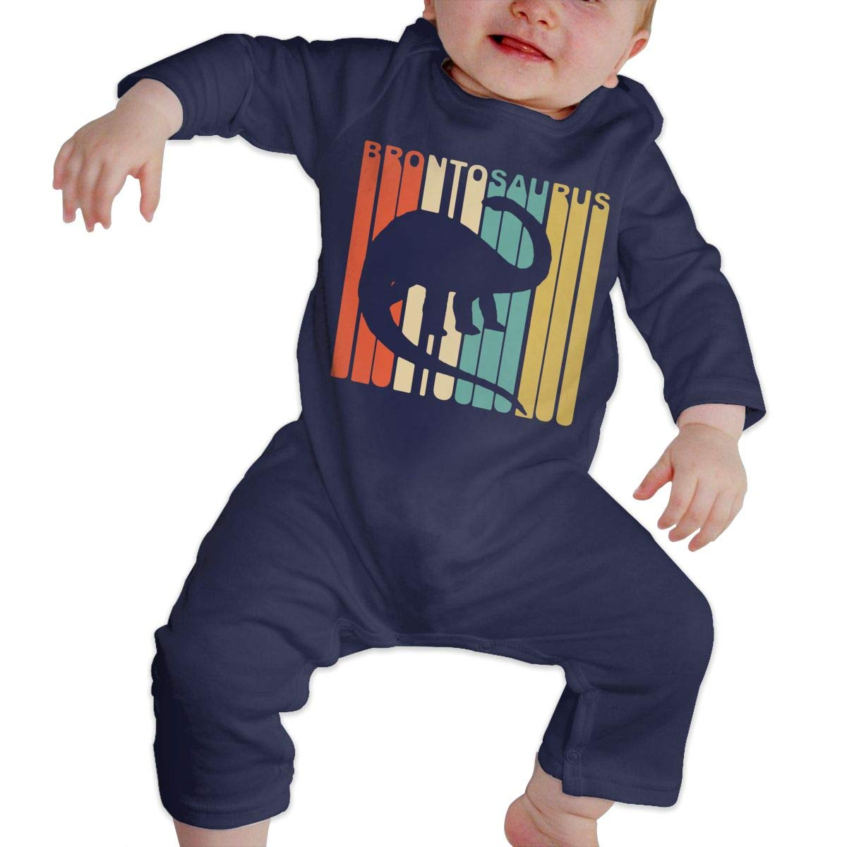 Mri-le1 Baby Boy Organic Coverall 1970s Style Dinosaur Baby Clothes