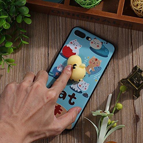 Pinzhi Pinzhi 3D Nizza Weiche Silikon Pappy Squishy Katze für iPhone 7 Plus Case Gelbe Rumpf Handy Shell Stil