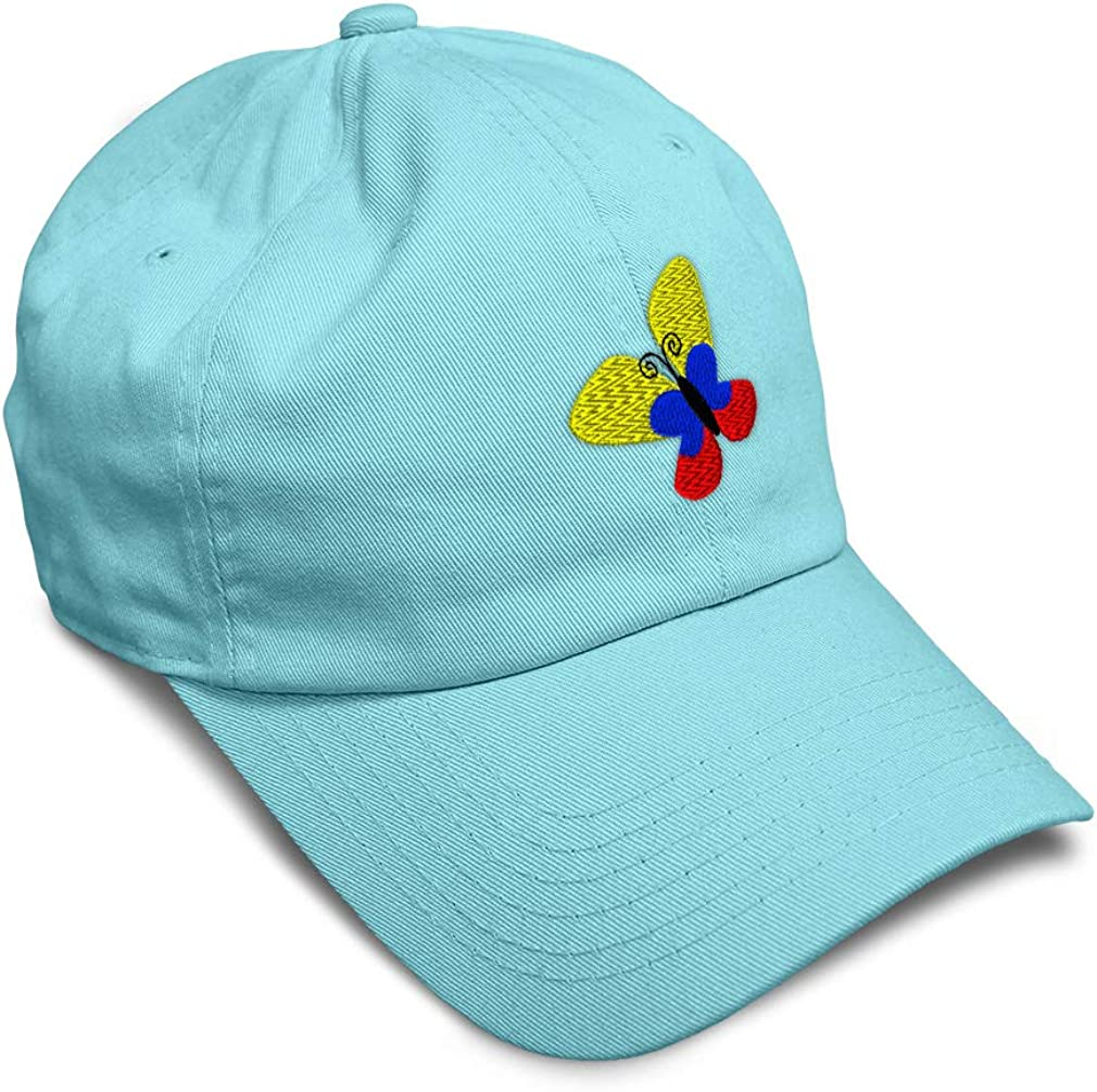 Custom Soft Baseball Cap Colombia Flag Butterfly Style Embroidery Twill Cotton