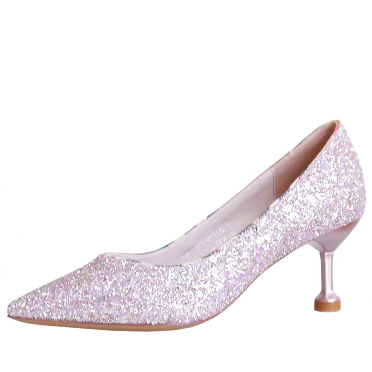 KPHY Damenschuhe/Im Herbst Kristall-Schuhe Fein Hacken 6 cm High High High Heels Mode und Pailletten Spitzen-und Schuhe Meine Schuhe.39 Die Silbernen - a243df