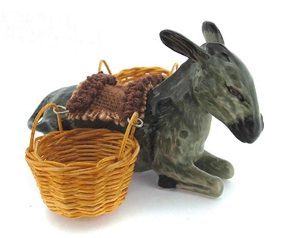 Dollhouse Miniatures Ceramic Sitting Donkey Basket FIGURINE Animals Decor by ChangThai Design