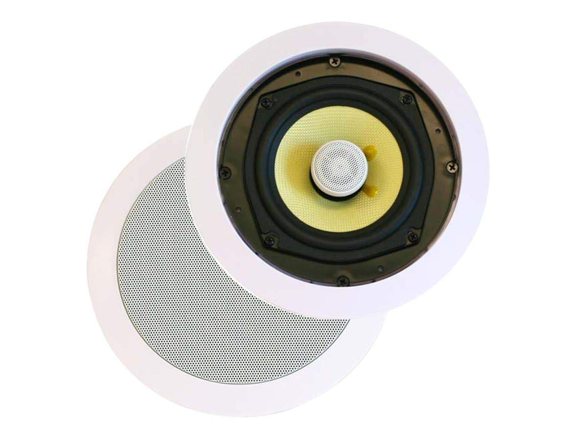 Monoprice 3 Way in-Ceiling Speakers - 6.5 Inches (Pair) with Concentric Mid/Highs, Aramid Fiber Cone Driver & Titanium Silk Dome Tweeters - Caliber Series