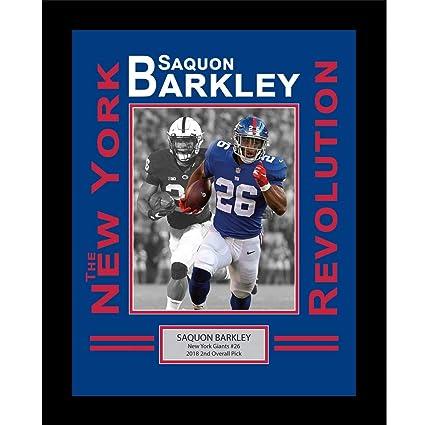 66e2a33f621 Framed Saquon Barkley New York Giants Revolution 8x10 Football Photo Professional  Matted