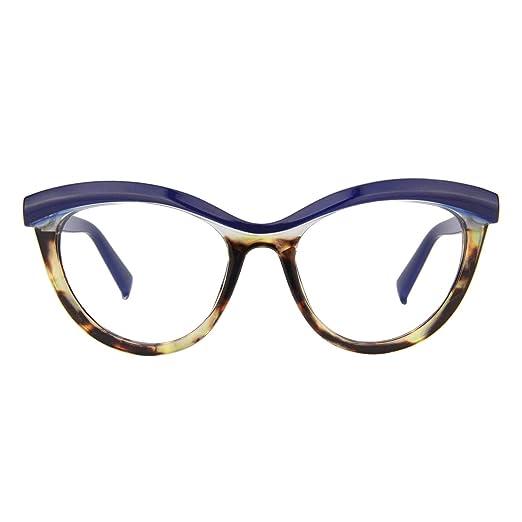 0b58e0ab4d28 Zeelool Women's Oversized Browline Cat Eye Glasses Frame with Clear Lens  Sean FP0124-02 Blue