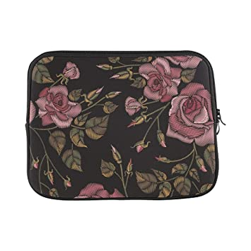 a47135d9d210e Image Unavailable. Image not available for. Color  Design Custom Roses  Embroidery On Black Sleeve Soft Laptop ...