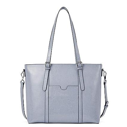 4f39dfebb8a0 BOSTANTEN Women Leather Laptop Shoulder Handbag Vintage Briefcase 15.6