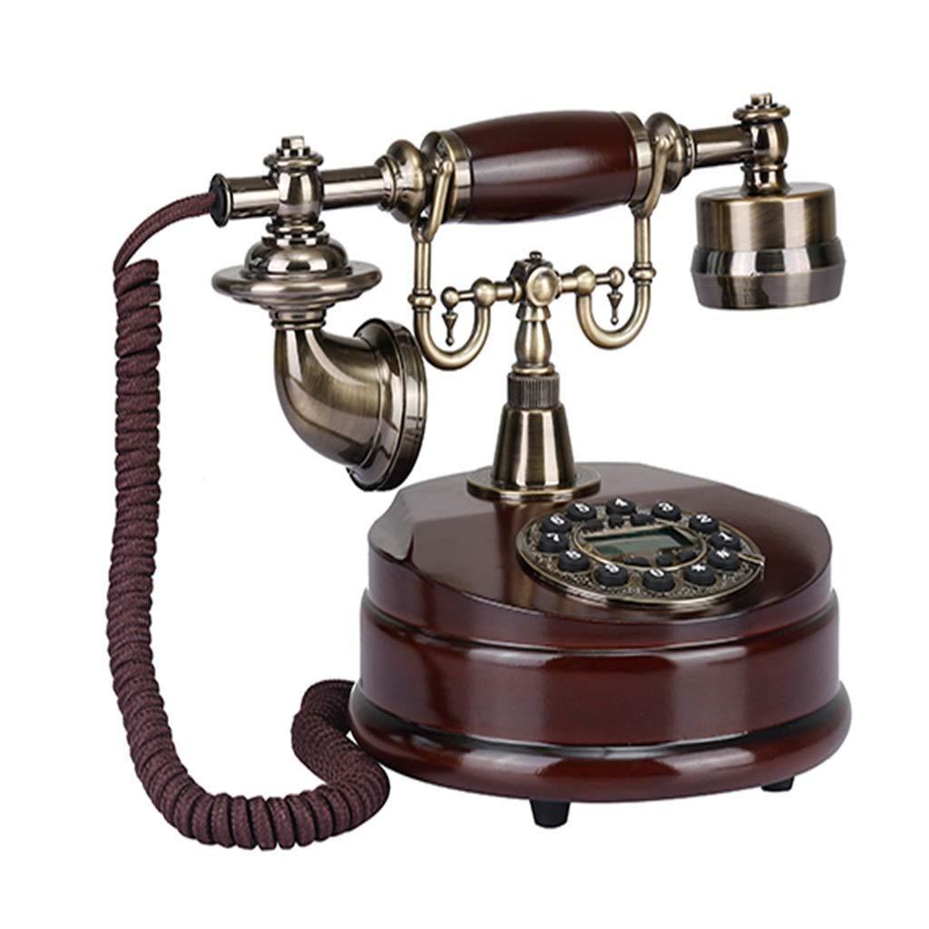 ZXIU phone Home Landline Zinc Alloy Wooden Retro Wired Button Dialing Landline (Color : A)