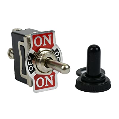 20A 125V Toggle Switch (ON)-OFF-(ON) SPDT 3 Terminal Momentary 2 SIDE+Boot: Automotive