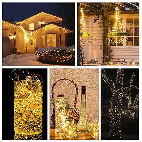 ETHINK 200 LED 65.6ft Auto Timer 8 Modes Remote Control Battery Operated Waterproof Dimmable Fairy String Copper Wire Lights for Christmas, Bedroom, Party, Patio, Wedding, Warm White (200LED) by ETHINK (Image #3)
