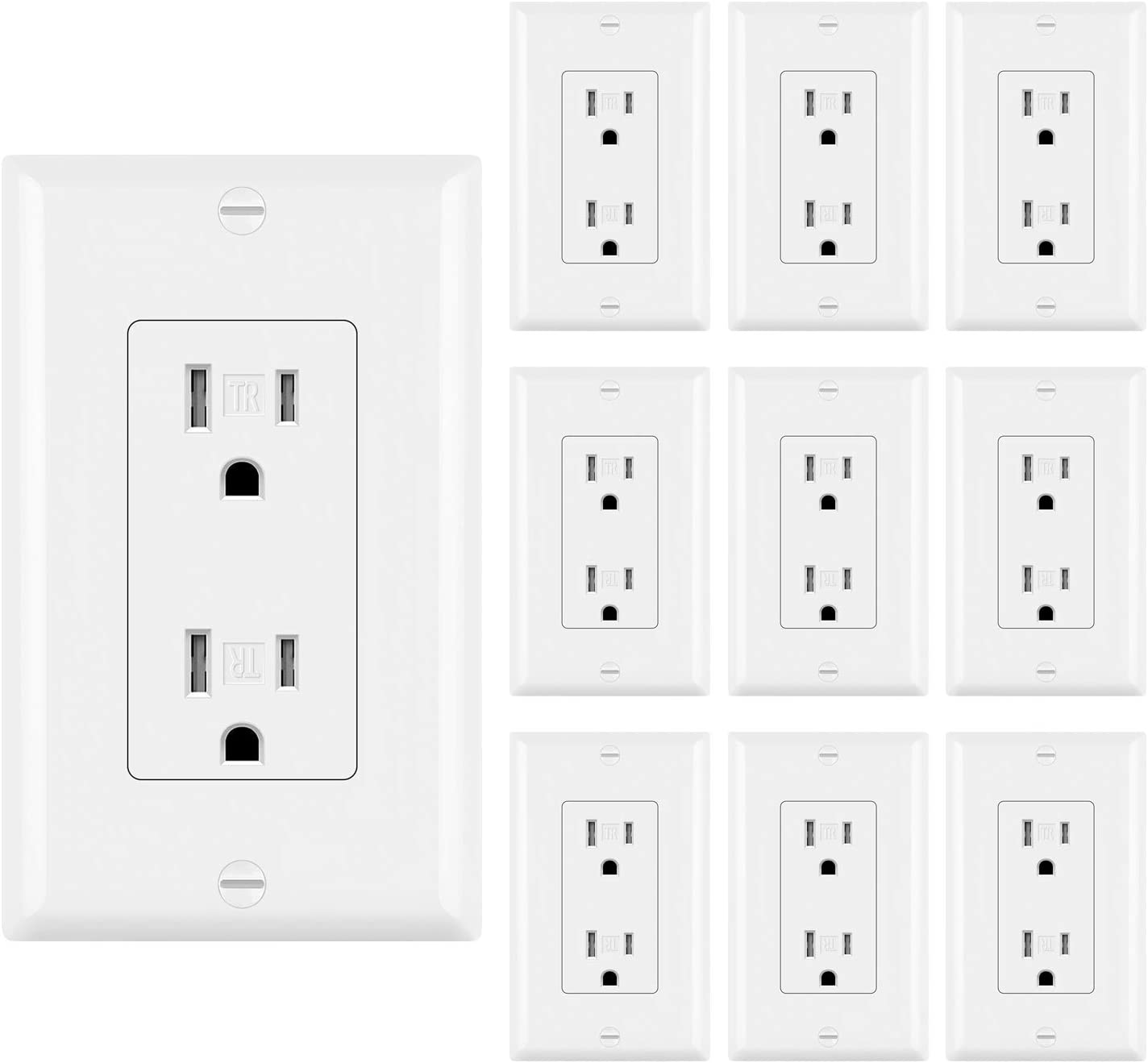 [10 Pack] BESTTEN 15A Decorator Wall Outlet, Tamper Resistant Receptacle, 15A/125V/1875W, Wallplate Included, UL Listed, White