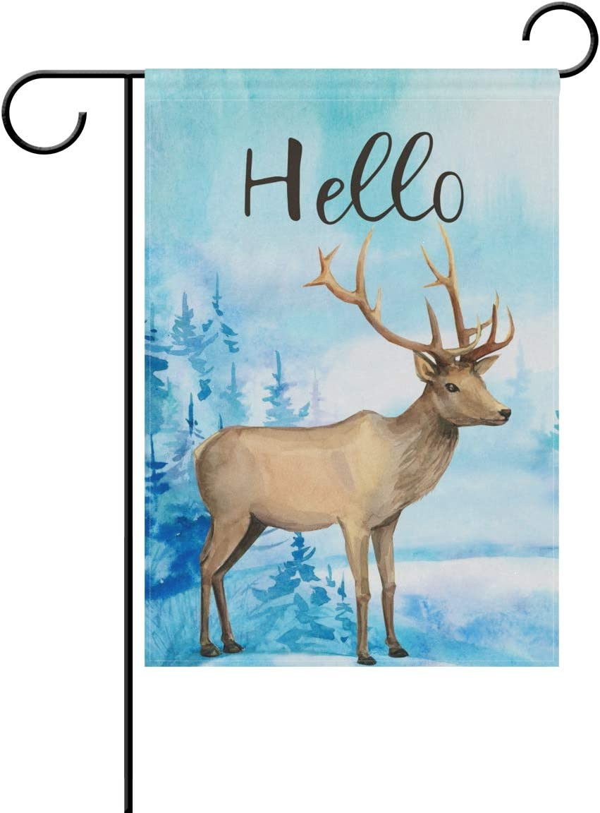Tarity Blue Forest Deer Garden Flags Spring Summer Double Sided Polyester Yard Flag Decorative Welcome Hello House Flags Home Farmhouse Outdoor Decor 12 x 18 in