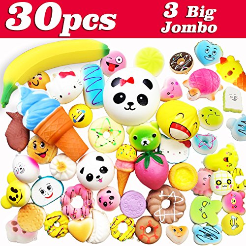 30 Squishies Pack Slow Rising 3 Jumbo/ 9 Medium/ 18 Mini, Animal Cake Cat Panda Fruit Hamburger Ice Cream Bun Food Banana Bread Squishy Kids Party Favors Toys Soft Scented for Boys Girls by Symfury
