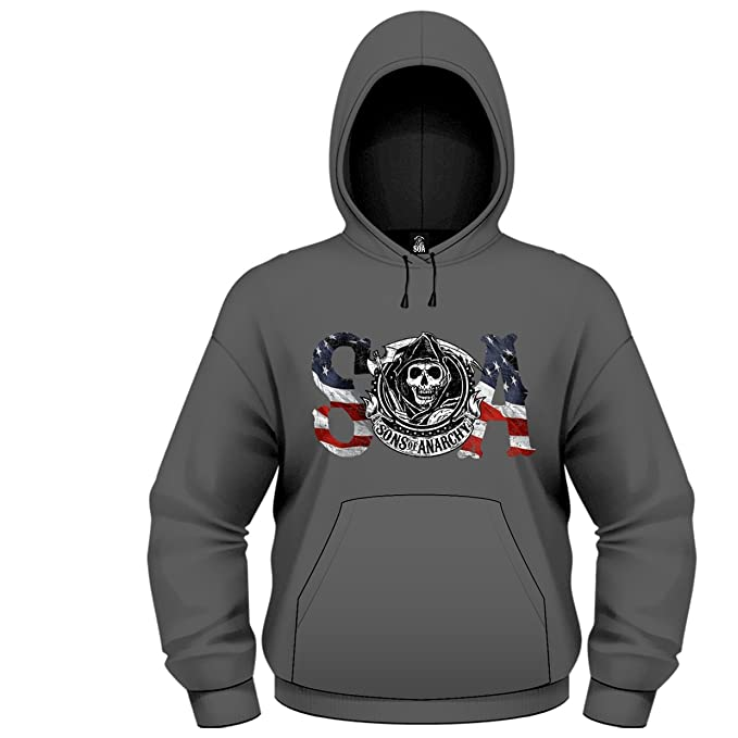 Playlogic International(World) Sons of Anarchy Flag HSW, Sudadera para Hombre, Gris