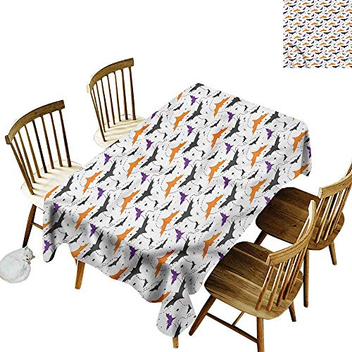 (one1love Resistant Table Cover Halloween Bat Silhouettes Swirls High-end Durable Creative Home 50