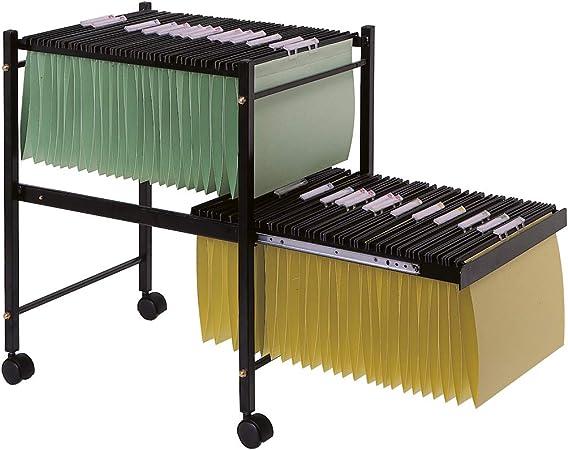 Q-Connect - Carrito para Carpetas Colgantes Negro con Ruedas y Bandeja Inferior Extraíble para Carpetas Tamaño Folio, 65 x 45 x 54 cm: Amazon.es: Juguetes y juegos