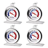 Miklan 4PCs Fridge Thermometer, Freezer Thermometer Food Meat Temperature Gauge Kitchen Silver