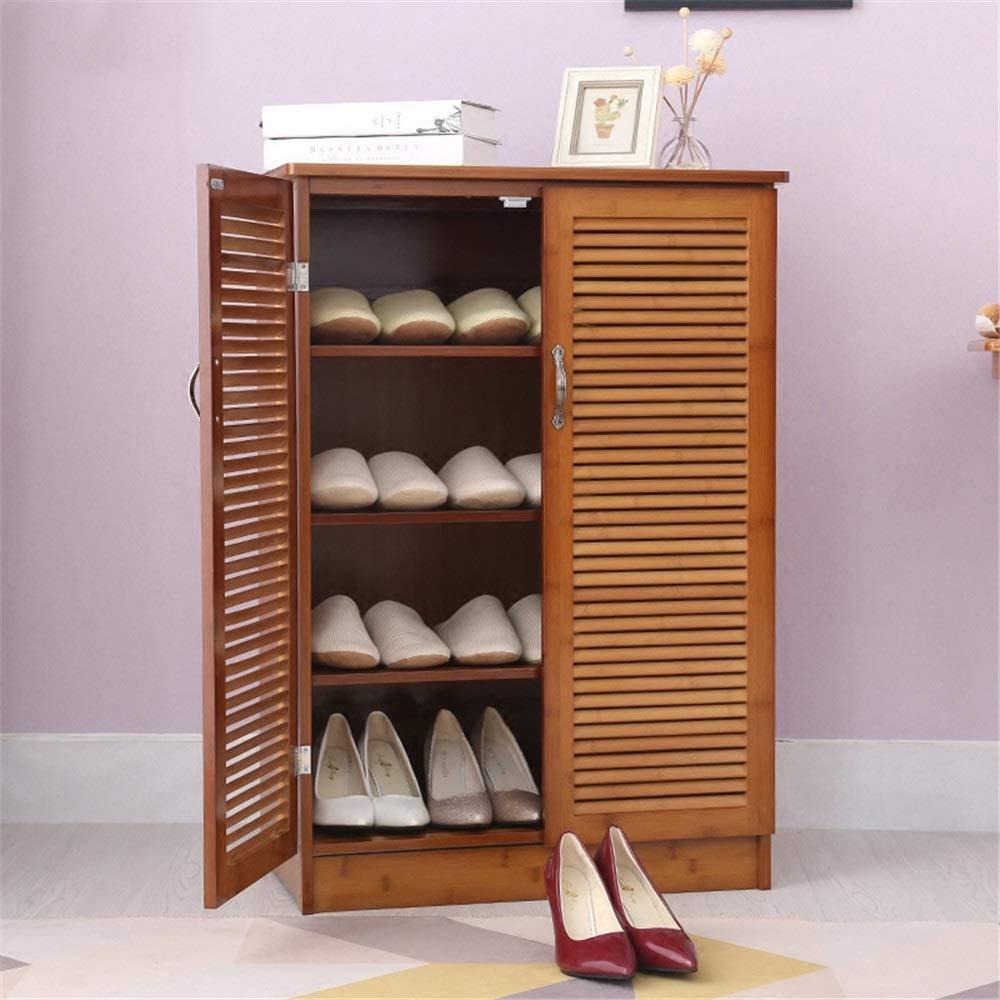 シューズラック靴棚 シェルフ 収納 ラック 竹靴キャビネット多層靴ラックシンプルモダンホールキャビネットシンプル多機能リビングルームポーチ靴キャビネット 玄関収納可動棚 (色 : Wood, サイズ : A) B07SYNWTNJ Wood A