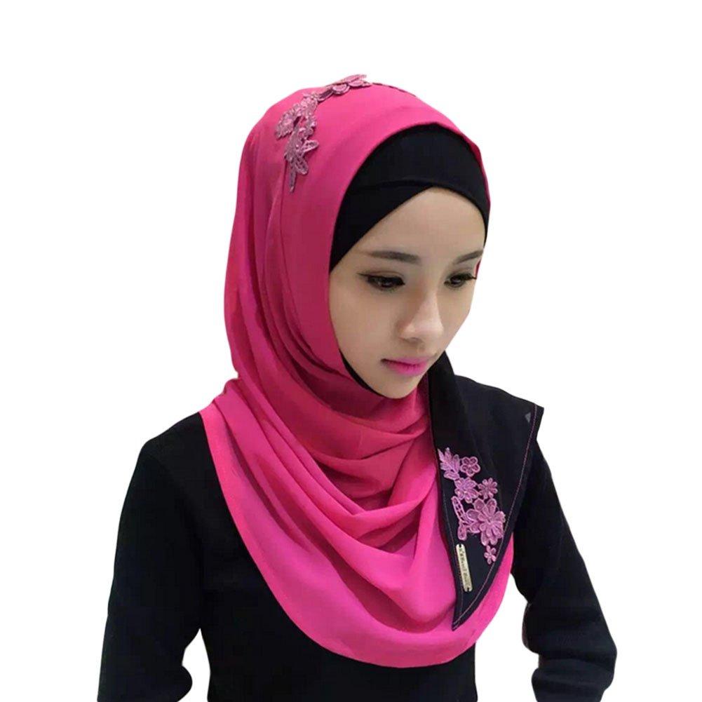 Meijunter Frau Mode Muslim Schal Spitze Stickerei Spleißen Arabian Baumwolle Umhängetuch Hijab