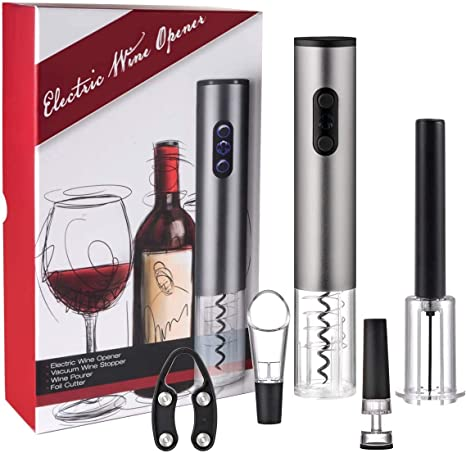 Pourer Ecentaur Automatic Wine Bottle Opener Battery Operated Electric Corkscrew Auto Opener set with Foil Cutter Stainless Steel Ice Cube Wine Stopper