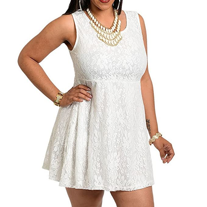 8819 - Plus Size Sleeveless Lace Short Babydoll Dress Top Ivory
