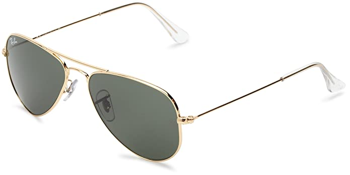 Amazon.com: Ray-Ban AVIATOR SMALL METAL - ARISTA Frame CRYSTAL GREEN Lenses 52mm Non-Polarized: Clothing