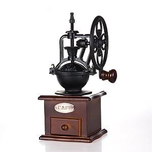 Manual Coffee Grinder,IMAVO Vintage Style Wooden Coffee Grinder Roller Grain Mill Hand Crank Coffee Grinders