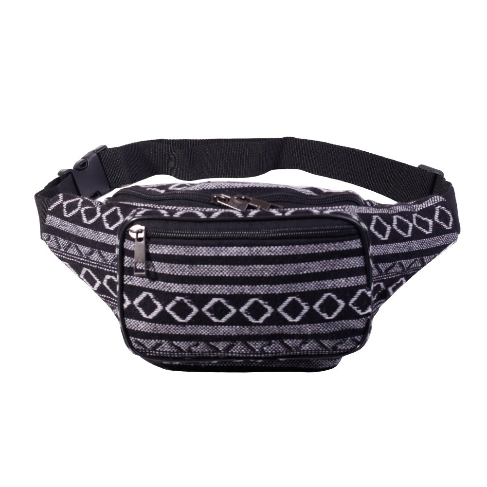 Fanny Pack Stripe 80s Waist Bags, iridescent Woven Tribal Print Waist pack for Travel,Rave Party,Trip,Festival (03 Woven Cotton Fabric Bohemian Stripe (Black))