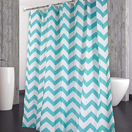 Image Unavailable Not Available For Color CAROMIO Chevron Fabric Shower Curtain Aqua