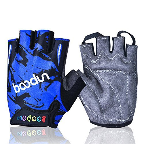 Ezyoutdoor Padded Cycling Bicycle Gloves MTB Bike Racing Riding Skateboard Skating Half Finger For Children M/L 6-10 Years Old (Dark Blue, Medium)