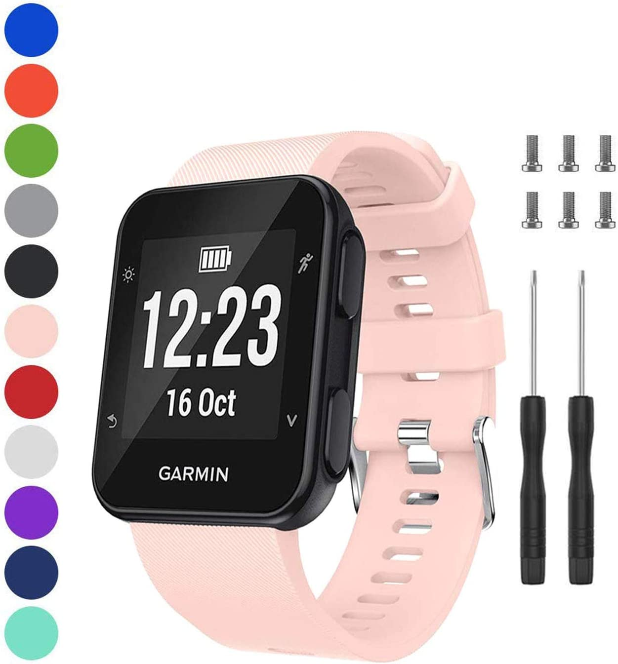 PSALMS for Garmin Forerunner 35 Band,Unisex Garmin Silicone Wristband Compatible with Garmin Forerunner 35 Smartwatch(Pink)