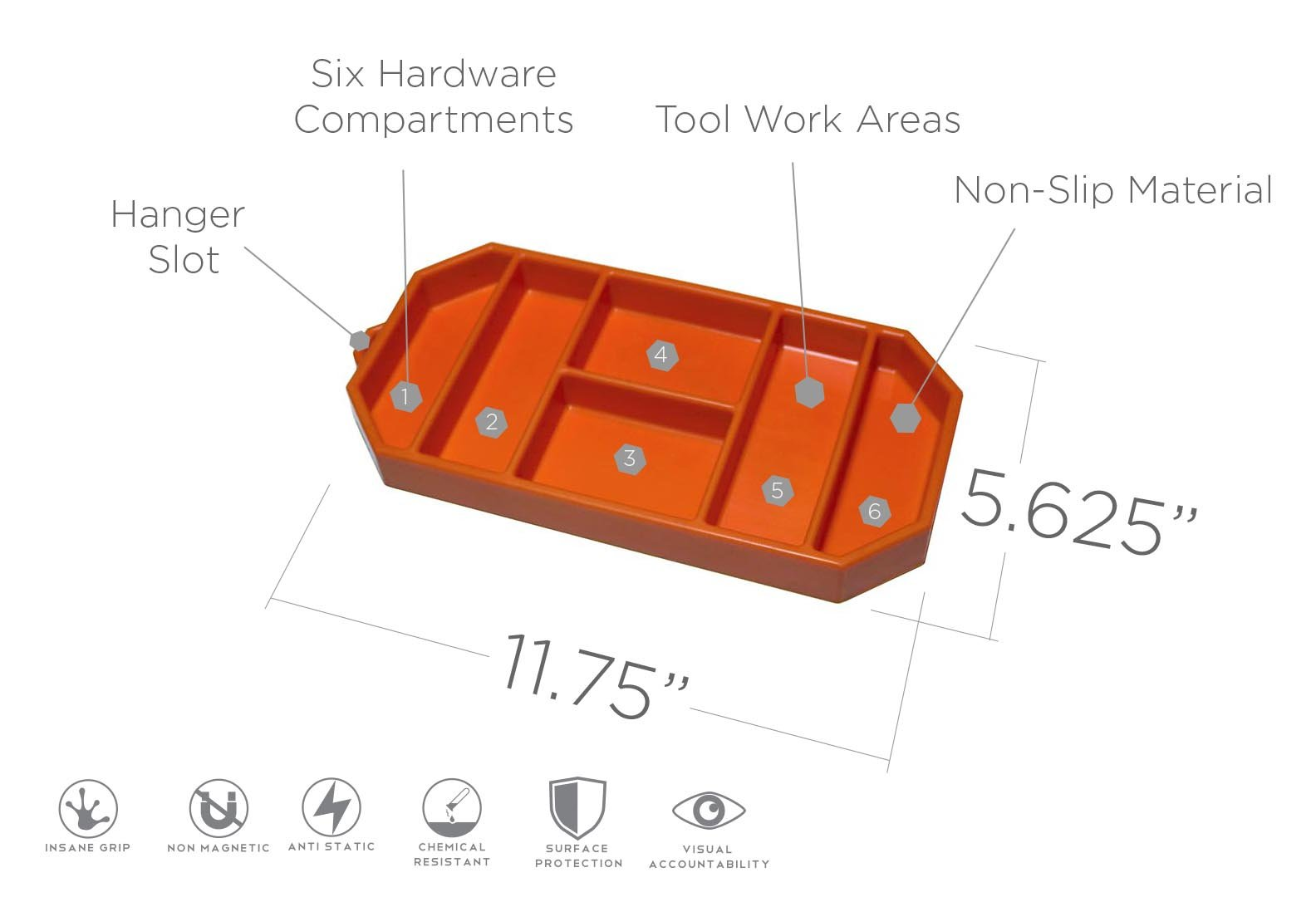 Grypmat | Non-Slip Flexible Orange Tool Tray | Tool Box Organizer | Socket Organizer | Tool Holder | Tool Mats | No Magnets | Easy Clean Up | As Seen On Shark Tank (Small) by Grypshon (Image #1)
