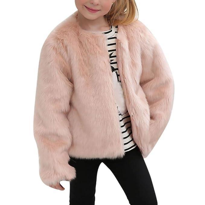 Vovotrade Niña Chaqueta de abrigo Otoño invierno Rosado Princesa Falso Pelaje Grueso Calentar Outwear Ropa,