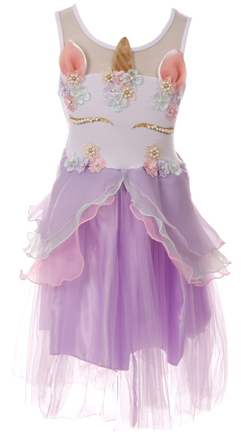 616f09cd5a Deluxe Sleeveless Unicorn Girl Dress. These dresses are piece adorned with  flowers and pearl details on the front that form into a unicorn face.