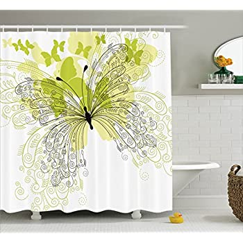 Ambesonne House Decor Collection, Butterflies Spring Park Stylized Art Decorative Romantic Love Anniversary Design, Polyester Fabric Bathroom Shower Curtain, 75 Inches Long, Green Black Cream