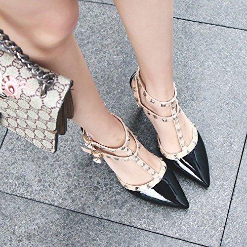 Mee Shoes Women's Chic Stiletto Buckle Court Shoes Black UKJ8VHquNp