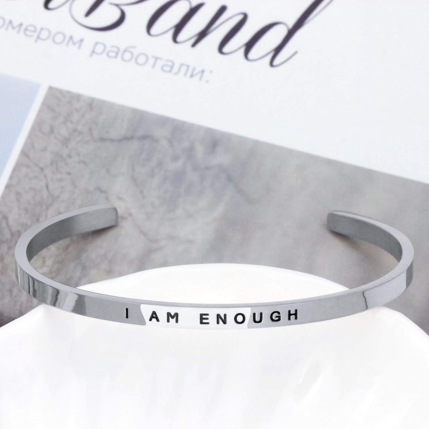 Inspirational Gift for Women Inspirational Cuff Bangle Bracelet Inspirational Jewelry Engraved I am Enough