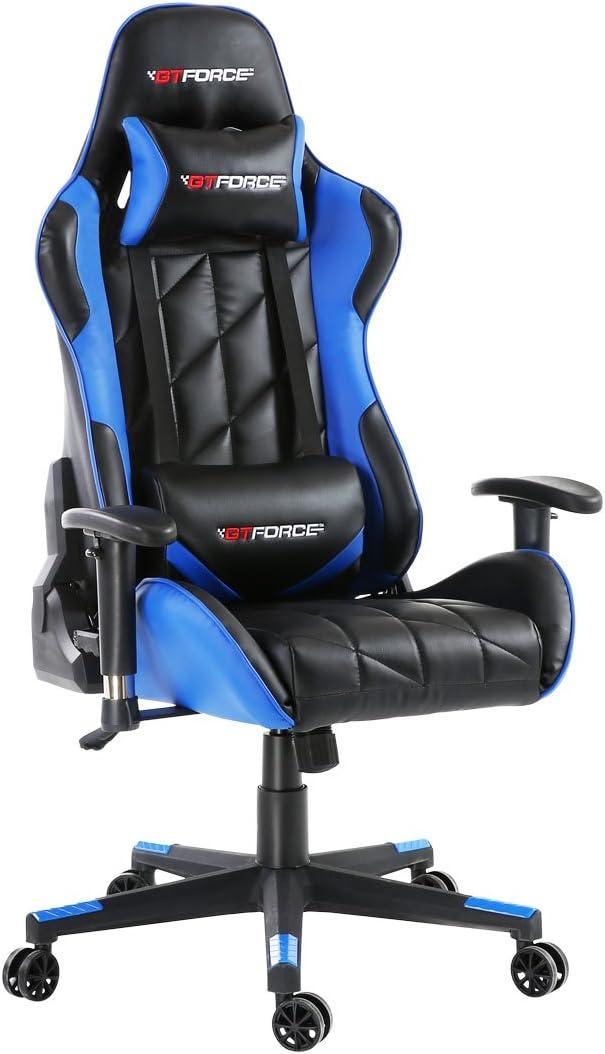 GTFORCE PRO GT - Silla gamer reclinable para el ordenador - Ideal para casa y el trabajo - Cuero sintético - Azul
