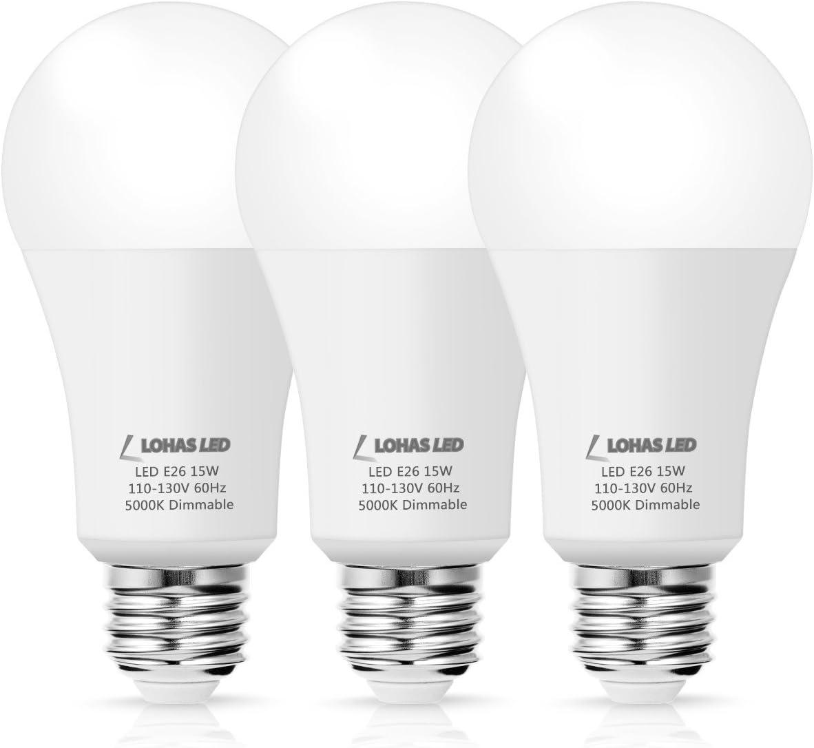 LOHAS LED Dimmable A19 Light Bulb with Daylight White (5000K), 15 Watt  (100Watt Equivalent) E26 Base LED, 1380 High Intensity Kitchen Light,  Energy ...