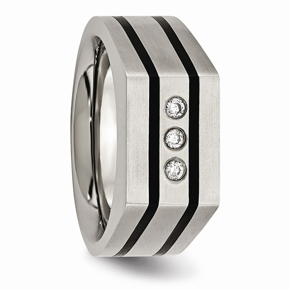 Jewels By Lux Titanium Brushed and Polished Black IP-Plated CZs Ring