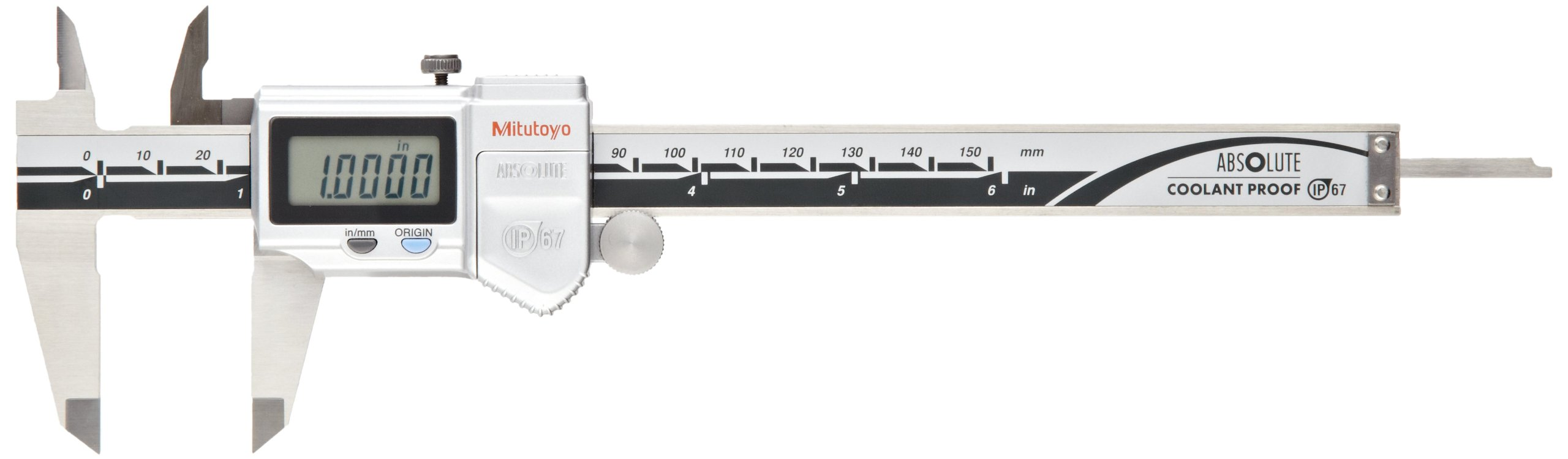Mitutoyo 500-762-10 Digital Calipers, Battery Powered, Inch/Metric, for Inside, Outside, Depth and Step Measurements, Stainless Steel, 0''/0mm-6''/150mm Range, +/-0.001''/0.01mm Accuracy, 0.0005''/0.01mm Resolution, Meets IP67 Specifications