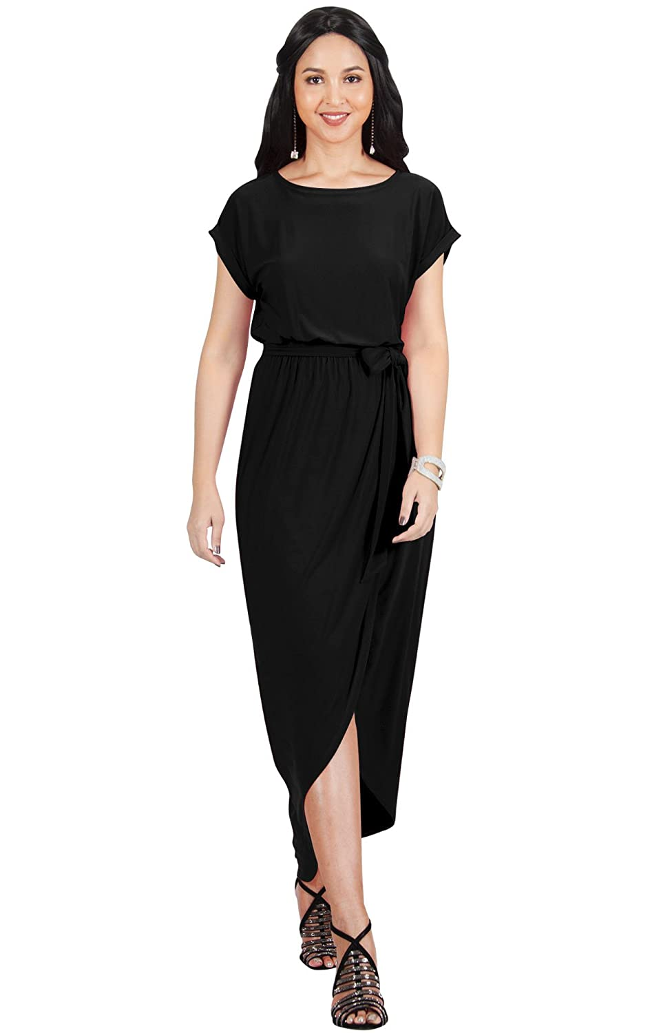 dde7d8d3f1ca KOH KOH Womens Short Sleeves Round Neck Solid Draped Asymmetrical Maxi  Dress at Amazon Women s Clothing store