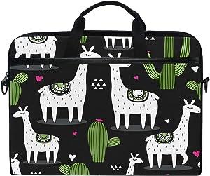 JOKERR Laptop Case Bag Tropical Cactus Llama 14 inch to 14.5 inch Briefcase Messenger Computer Sleeve Tablet Bag with Shoulder Strap Handle for boys girls