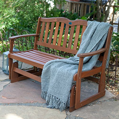 [Outdoor Patio Gliders Bench Rocker Loveseat Porch Swing Wooden Glider 4 ft.] (Back Porch Glider Bench)