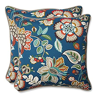 "Pillow Perfect 573342 Outdoor Telfair Throw Pillow, Set of 2, 18.5"" Blue - Includes two (2) outdoor pillows, resists weather and fading in sunlight; Suitable for indoor and outdoor use Plush Fill - 100-percent polyester fiber filling Edges of outdoor pillows are trimmed with matching fabric and cord to sit perfectly on your outdoor patio furniture - living-room-soft-furnishings, living-room, decorative-pillows - 61e0QuQEJJL. SS400  -"