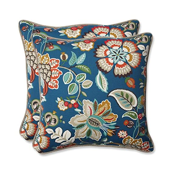 "Pillow Perfect 573342 Outdoor Telfair Throw Pillow, Set of 2, 18.5"" Blue - Includes two (2) outdoor pillows, resists weather and fading in sunlight; Suitable for indoor and outdoor use Plush Fill - 100-percent polyester fiber filling Edges of outdoor pillows are trimmed with matching fabric and cord to sit perfectly on your outdoor patio furniture - living-room-soft-furnishings, living-room, decorative-pillows - 61e0QuQEJJL. SS570  -"