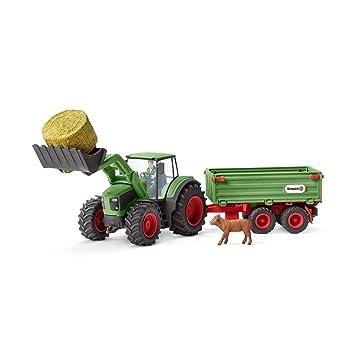 Schleich - Tractor con Remolque, Color Verde. Incluye granjero y ...