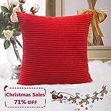 Home Brilliant Striped Plush Velvet Corduroy Euro Throw Pillow Sham Cushion Cover for Couch, Sofa, Floor, 24 x 24 inch (60cm), Red