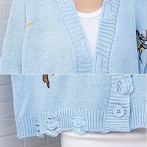 ロング カーディガン セーター レディース グラデーション Vネック ロング トッパー ニット カットソー 長袖 ゆとり 学院風 刺繍