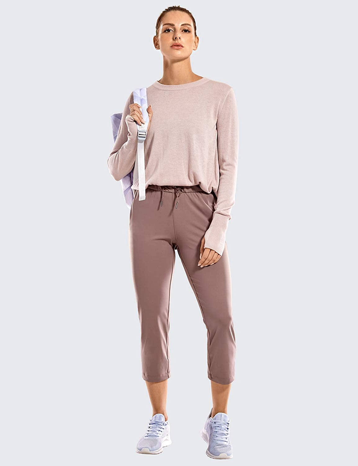 CRZ YOGA Womens On The Travel Mid Rise Capri Joggers Stretch Casual Pants Crop with Pockets